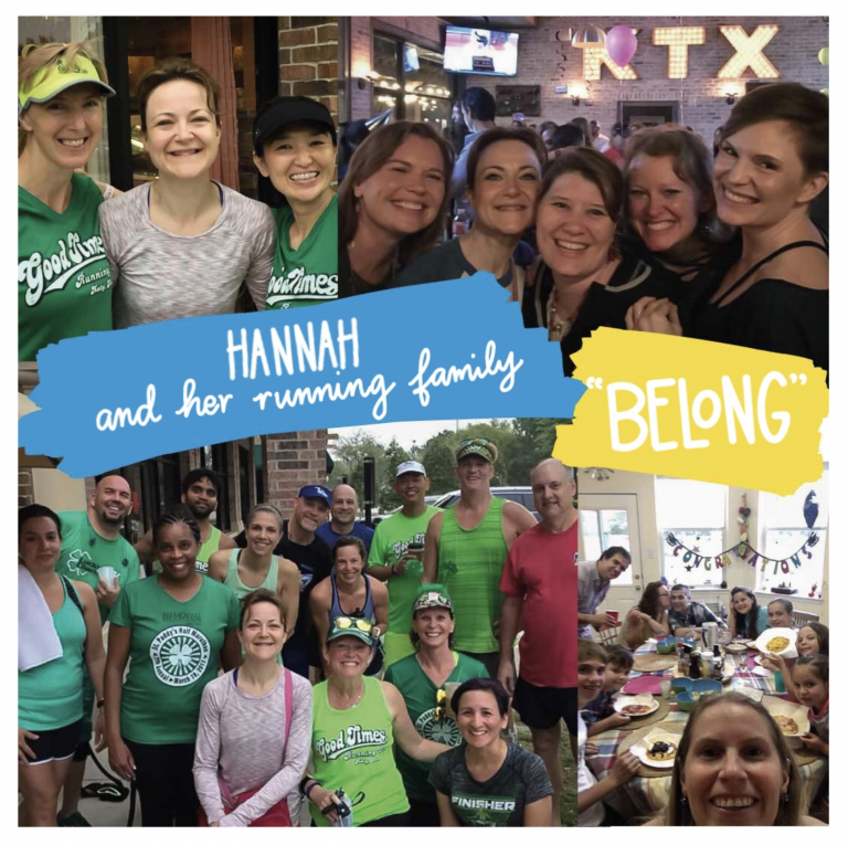 """Hannah with her running family - one of her sweetest """"belongings"""". Where do you find a sense of belonging?"""