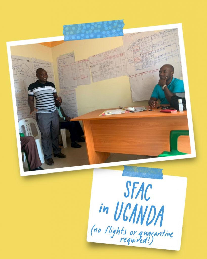 """a photo and a white sticky note on a yellow background. Both are stuck to the background with blue washi tape. The sticky note has """"SFAC in UGANDA (no flights or quarantine required!) handwritten on it. The photo shows Joseph, a Ugandan man sitting behind a desk looking thoughtful and resting his chin in one hand. He's listening to another Ugandan man who's standing and speaking. He's wearing a black, white and grey striped t-shirt and grey trousers. The surrounding walls are covered in large sheets of paper with handwritten texts and drawings all over them. - Clearly they've been busy!"""