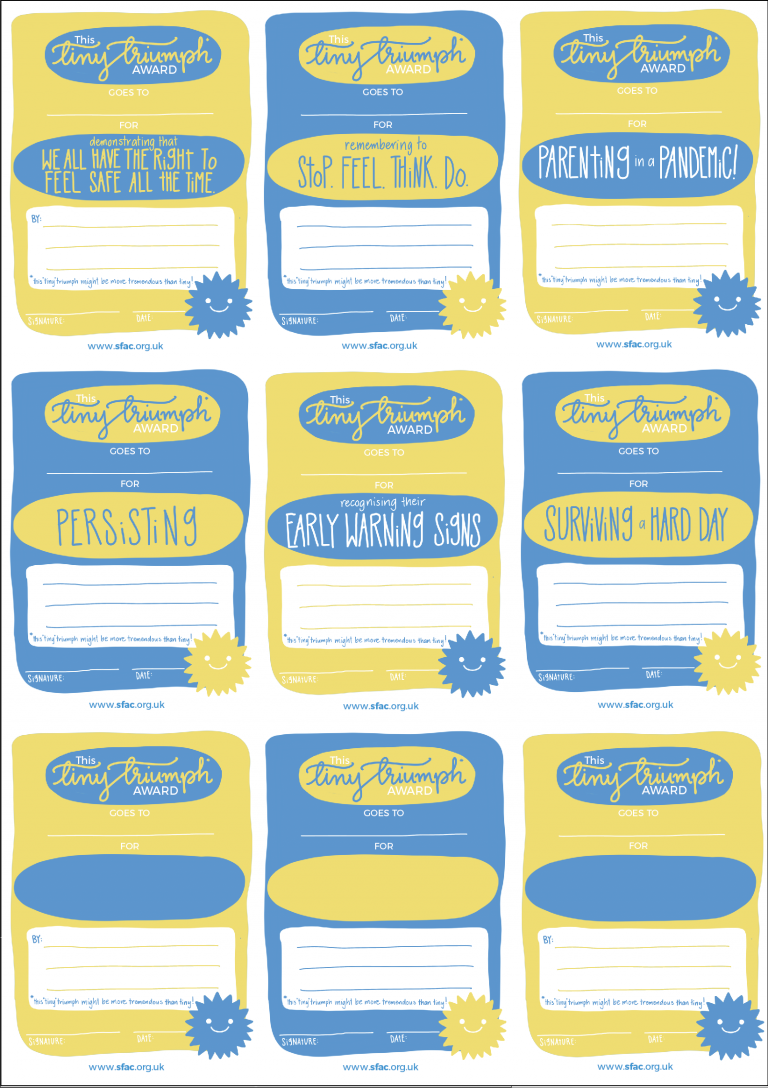 Image of an A4 sheet of 9 small certificates. Half are blue and Half are yellow. All have the heading This Tiny Triumph Award Goes To: in a combination of handwritten script and typed font.