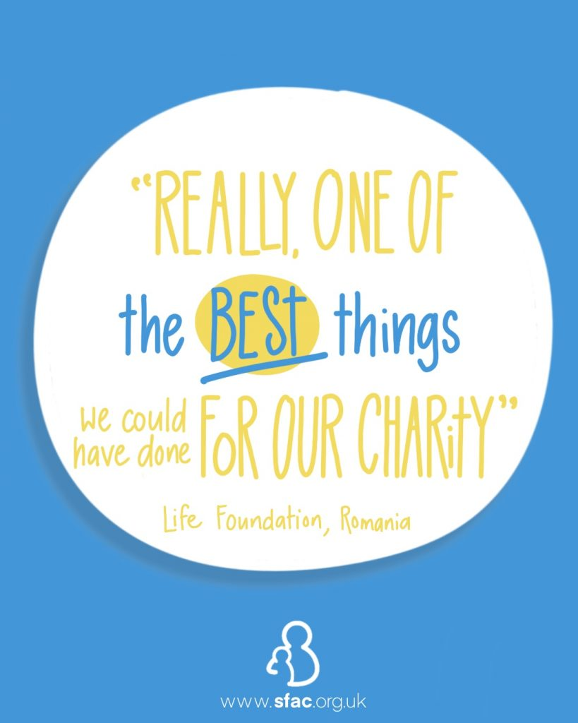 """The words """"Really one of the best things we could have done for our charity. Life Foundation, Romania"""" handwritten in a white bubble on a blue background."""