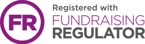 """Fundraising Regulator Logo in purple and grey. Top line says """"Registered with"""""""